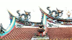 Closeup on Chinese Temple Roof Stock Footage