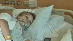 Patient in hospital oxygen mask Stock Footage