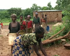 African people building classroom. Stock Footage