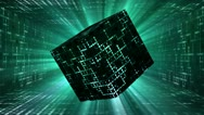 Animated space cube rotating in sci-fi corridor Stock Footage
