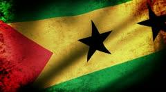 Sao Tome & Principe Flag Waving, grunge look Stock Footage