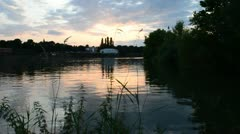 real time video habor evening Rhine - stock footage