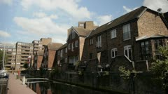 Buildings on the canal Clouds Timelapse Stock Footage