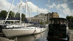 Boats  st. Katherines Dock London Clouds Timelapse Stock Footage