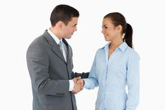 Stock Photo of Young business partners closing a deal