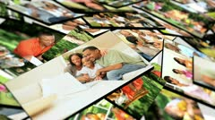 Montage 3D tablet  images young multi ethnic family groups  Stock Footage