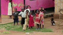 Ugandan Children Play and Wave for the Camera in Uganda, Africa. Stock Footage