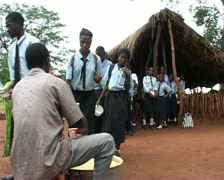 African school Kids receiving food Stock Footage