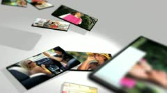 Montage 3D lifestyle female tablet images Caucasian, Asian and African Americans - stock footage