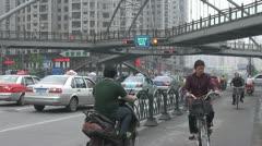 Pedestrian Bridge at Henan South Road, Shanghai, China Stock Footage