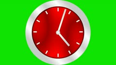 Silver Red Modern Round Clock Time Lapse Chroma Green Background Stock Footage