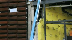 BROOKLYN, NY - FEBRUARY 15, 2012:  Construction workers build the Barclays Stock Footage
