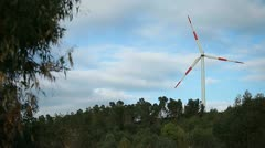 Wind turbines on hill - renewable energy source Stock Footage
