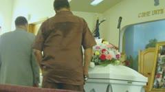 Funeral Home Open Casket Scene (HD) Stock Footage