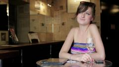 Happy woman drinking wine in bar HD Stock Footage