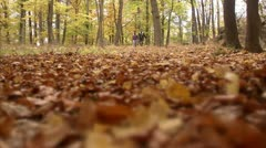 A couple going for a walk in the autumn Stock Footage