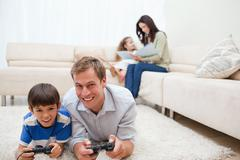 Stock Photo of Family enjoys spending their leisure time together