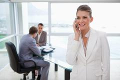 Marketing manager on the phone - stock photo