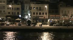 Port of island Syros in Greece - at night Stock Footage