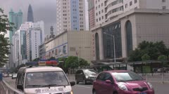 Heavy traffic in Business District, Shenzhen, China Stock Footage