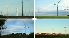 Wind turbines - renewable energy source (composition) Stock Footage