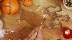 Decorating gingerbread biscuits Stock Footage