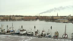 Boats in Stockholm Stock Footage