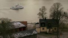 Boat passing by Kastellholmen, Stockholm Stock Footage