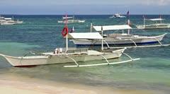 White boats near shore Stock Footage