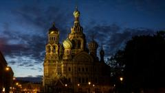 Сhurch of the resurrection in White Nights, St. Petersburg, Russia (timelapse) - stock footage