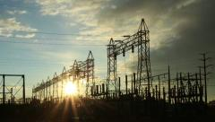 Stock Video Footage of Electrical Power Station with Sunrise