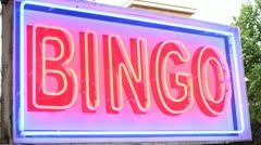 Bingo neon sign - stock footage