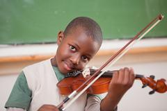 Stock Photo of Schoolboy playing the violin