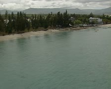 Aerial of hotels in Mauritius Stock Footage