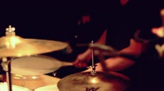Drummer at concert in slow motion Stock Footage