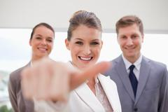 HR Manager about to give thumb up - stock photo