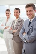 Business team introducing itself - stock photo