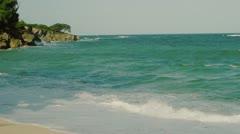 Waves crashing on ocean shore Stock Footage