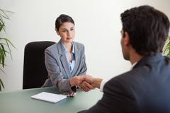 Young manager shaking the hand of a customer - stock photo