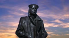 Lone Sailor Looking Out To Sea Statue Front Version 2 Stock Footage