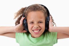 Söpö tyttö musiikin kuuntelu Kuvituskuvat