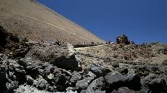 Tourists walking on the Teide Volcano Stock Footage