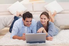 Couple looking for something on the internet Stock Photos