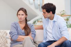 Woman being mad at her boyfriend - stock photo