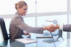 Young businesswoman receiving a customer - stock photo