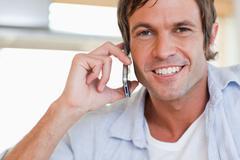 Close up of a man making a phone call Stock Photos