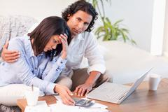 Stock Photo of Couple worried about their finances