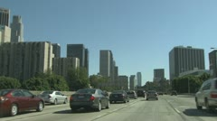 Downtown Los Angeles Driving Shot Stock Footage