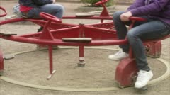 WS TU Two teenage girls playing in playground / Stockholm Stock Footage