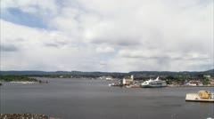Entrance to the harbor of Oslo Stock Footage